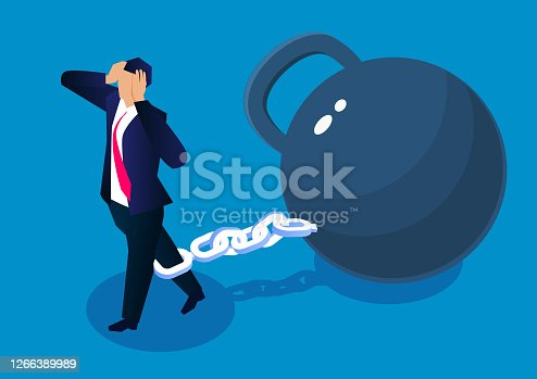 Distressed businessman tied with iron chain drags huge iron ball to walk