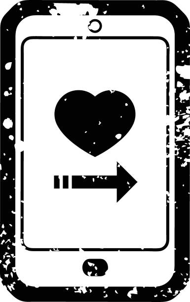 Distressed effect dating app on cell phone graphic icon vector art illustration