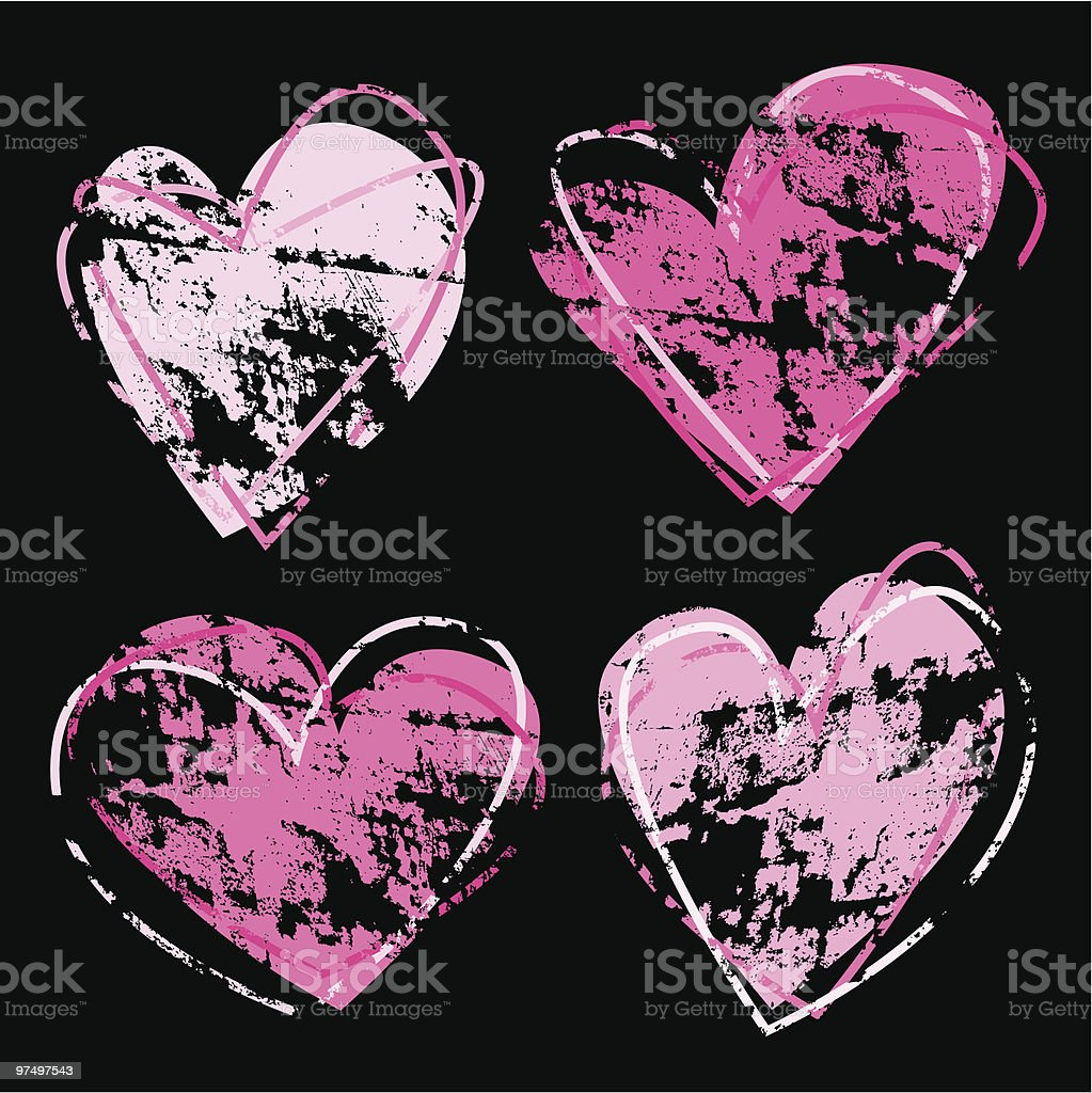 Distressed Hand Drawn Hearts royalty-free distressed hand drawn hearts stock vector art & more images of allegory painting
