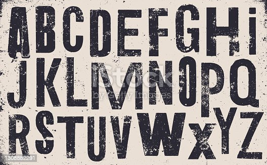 istock Distressed old uppercase alphabet - v1 1308882291