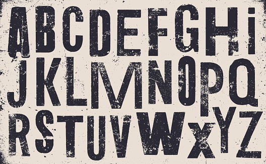 Vector distressed old uppercase alphabet. Black letters on white weathered texture background. Grunge and weathered capital letters.
