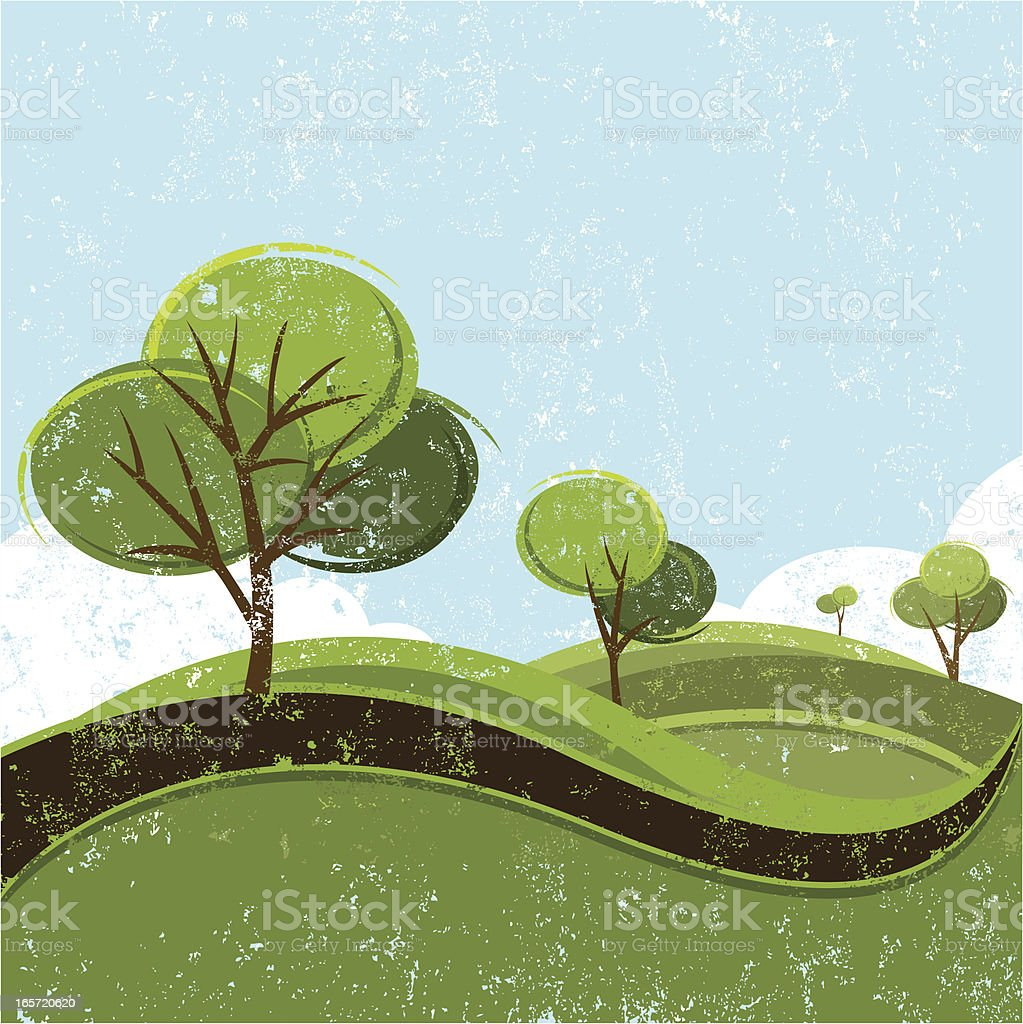 distressed spring landscape royalty-free stock vector art
