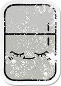 distressed sticker of a cute cartoon fridge freezer