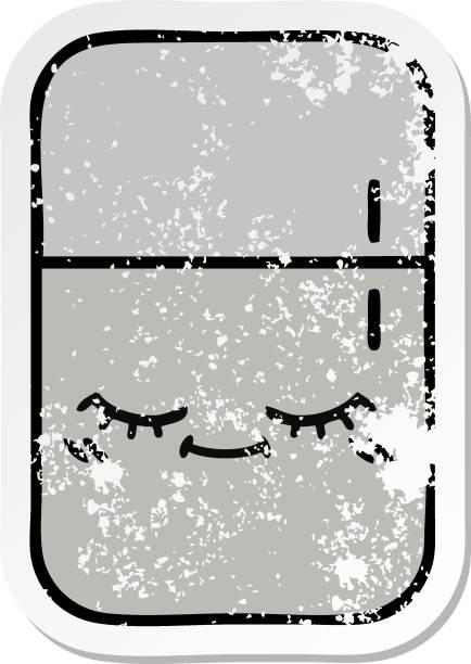 distressed sticker of a cute cartoon fridge freezer vector art illustration