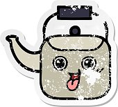 distressed sticker of a cute cartoon kettle