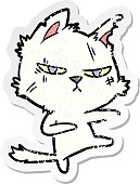 distressed sticker of a tough cartoon cat
