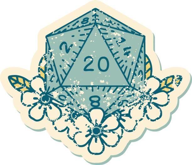 distressed sticker tattoo style icon of a d20 vector art illustration