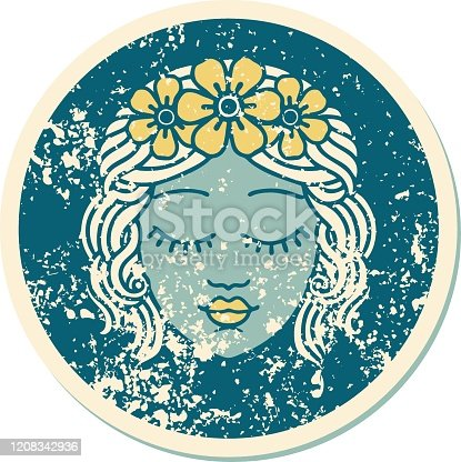 istock distressed sticker tattoo style icon of a maidens face 1208342936