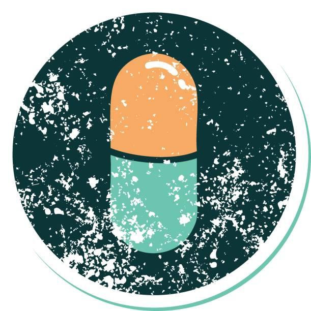 stockillustraties, clipart, cartoons en iconen met verontruste sticker tattoo stijl icoon van een pil - stickers met relief