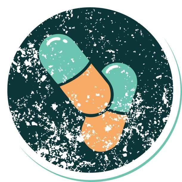 stockillustraties, clipart, cartoons en iconen met verontruste sticker tattoo stijl icoon van een pillen - stickers met relief