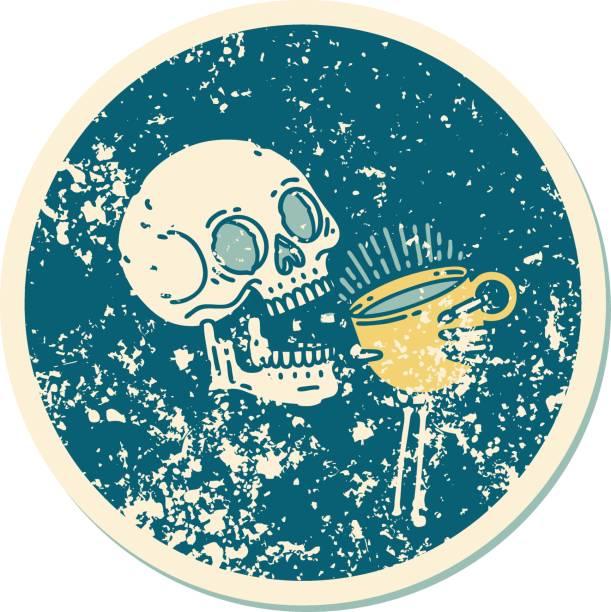 bildbanksillustrationer, clip art samt tecknat material och ikoner med bedrövad klistermärke tatuering stil ikon av en skalle dricka kaffe - coffe with death