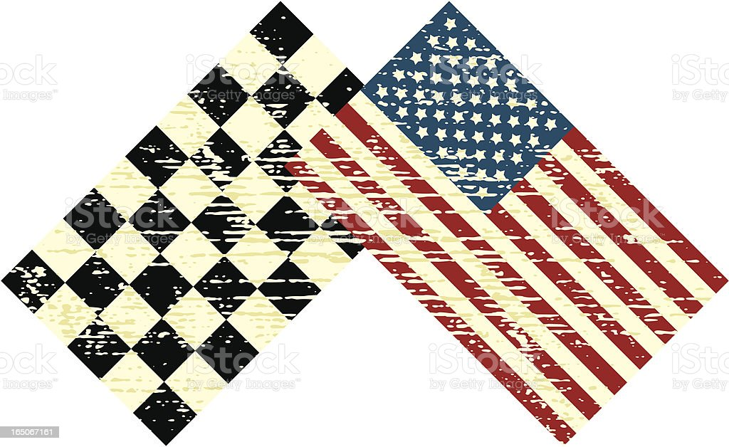 Distressed US and Chequered Flags vector art illustration