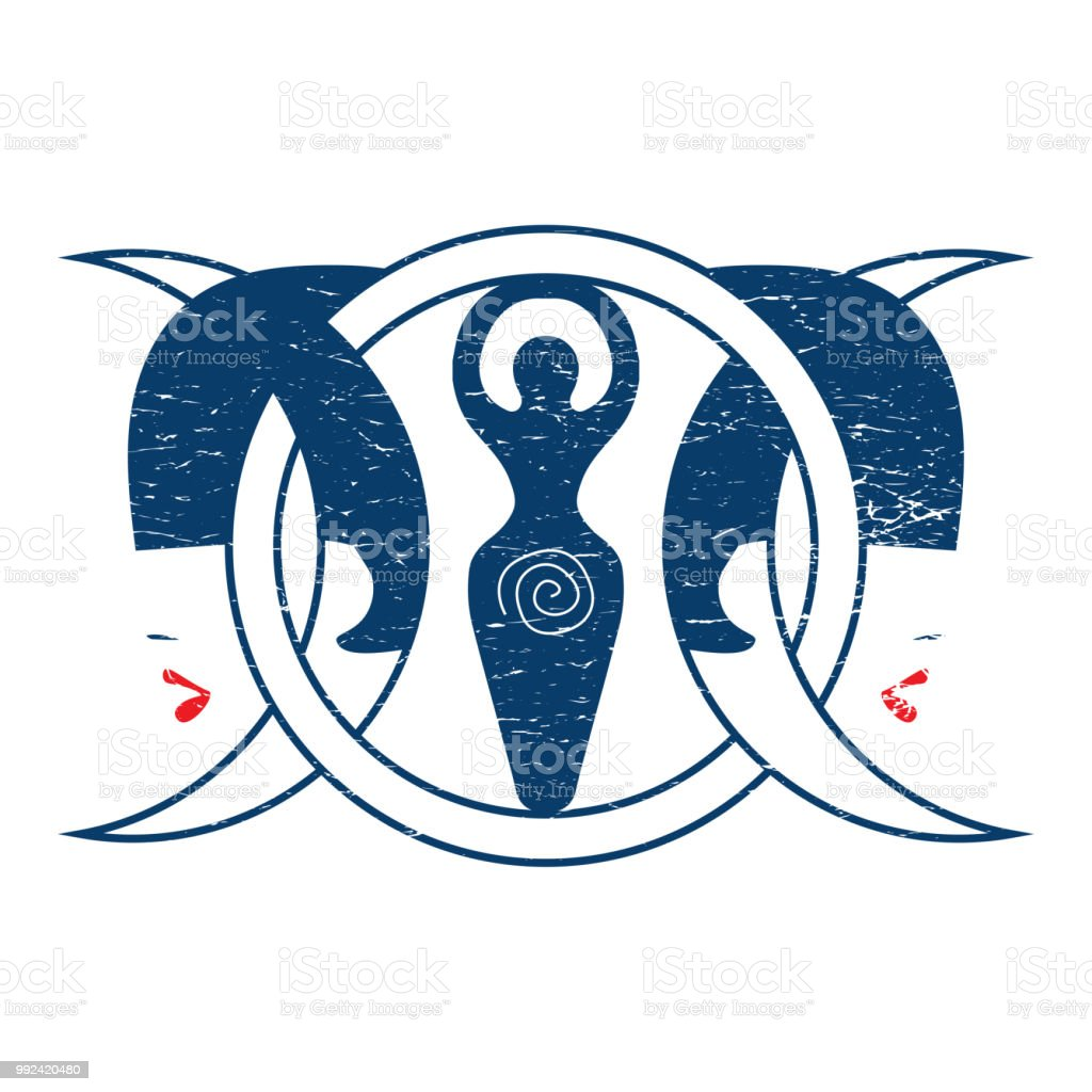 Distressed Vector Illustration Triple Moon Goddess Could Be Used As