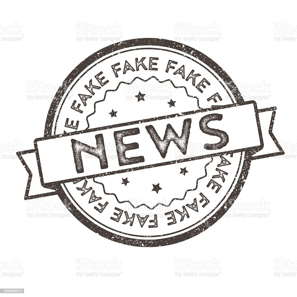 Distressed Vector Stamp Seal - Fake News vector art illustration