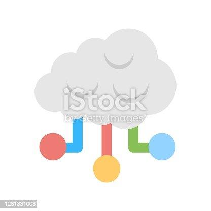 Distributed cloud computing storage icon illustration. Virtual database symbol.