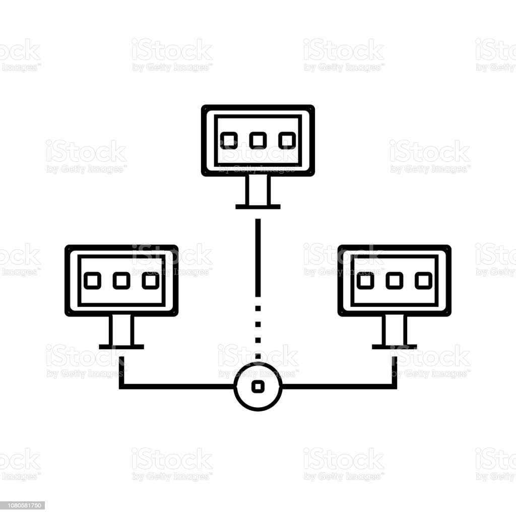 Distributed Database Icon Element Of Cyber Security For Mobile