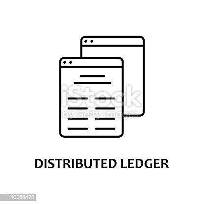 distributed ledger icon with name. Element of crypto currency for mobile concept and web apps. Thin line distributed ledger icon can be used for web and mobile on white background