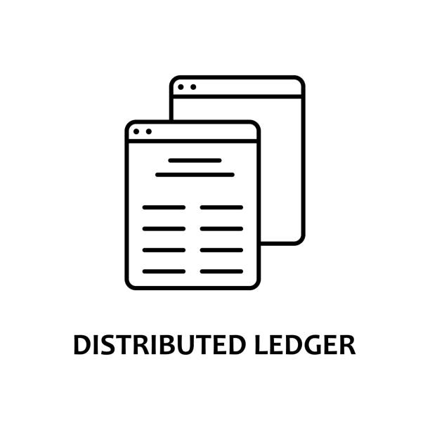 distributed ledger icon with name. Element of crypto currency for mobile concept and web apps. Thin line distributed ledger icon can be used for web and mobile distributed ledger icon with name. Element of crypto currency for mobile concept and web apps. Thin line distributed ledger icon can be used for web and mobile on white background accounting ledger stock illustrations