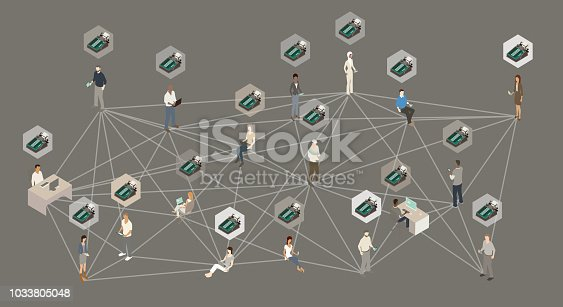 A group of people using technology devices is shown here, interconnected as if part of a distributed ledger. Above each person is a block containing a retro adding machine.