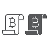 Distributed ledger line and glyph icon, finance and money, digital ledger sign, vector graphics, a linear pattern on a white background, eps 10.