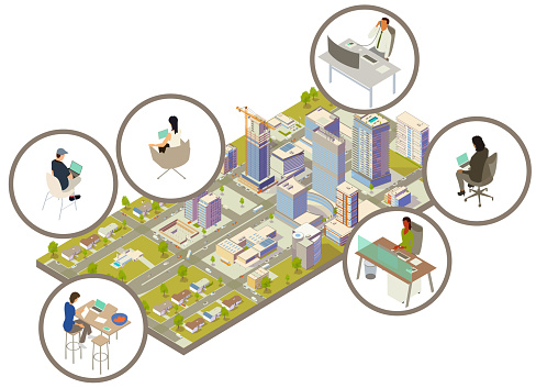 A distributed mix of hybrid, remote, and on-site workers are seen at desks and with laptops and tablets. Presented in circular call-outs, these women and men are scattered around a detailed, modern city including houses, apartment buildings, office buildings, and a corporate headquarters.