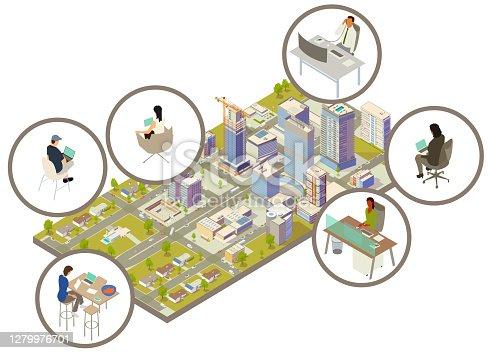 istock Distributed workforce illustration 1279976701