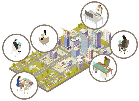Distributed workforce illustration
