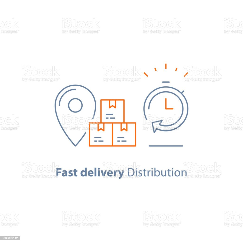 Distribution and shipping service, logistics company, express order delivery, send parcel, receive box, pick up point, time period vector art illustration