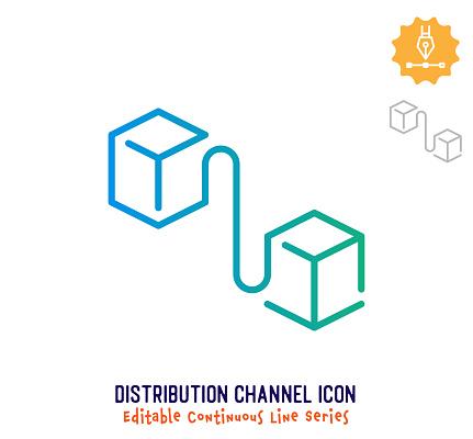 Distribution Channel Continuous Line Editable Icon