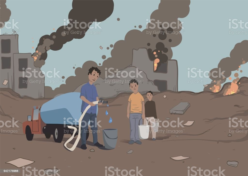 Distribution of water to the victims of the military conflict. Humanitarian aid. Water scarcity. Vector illustration. vector art illustration