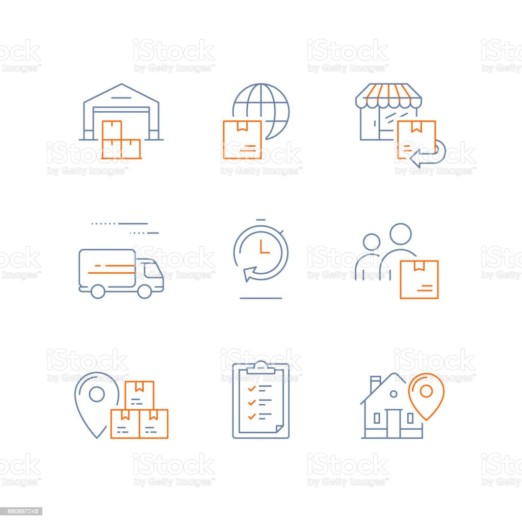 Distribution warehouse, fast delivery, supply chain, global shipping, order return, logistics company, send parcel, receive box vector art illustration