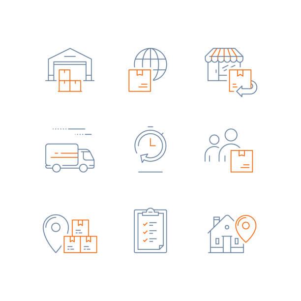stockillustraties, clipart, cartoons en iconen met distributie magazijn, snelle levering, toeleveringsketen, wereldwijde scheepvaart, bestelling terugsturen, logistiek bedrijf, verzenden perceel, ontvangen van vak - gemak