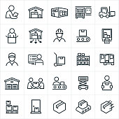Icons related to, and representing warehouses and the distribution process. The icons include warehouses, employees, workers, trucks, shipping, forklift, packaging, packing, boxes and the loading process among others.