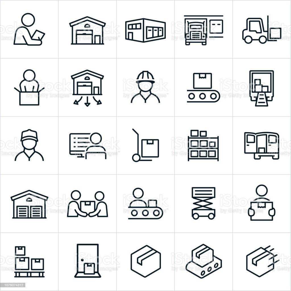 Distribution Warehouse Icons vector art illustration