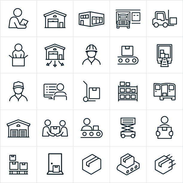 distribution warehouse icons - warehouse stock illustrations