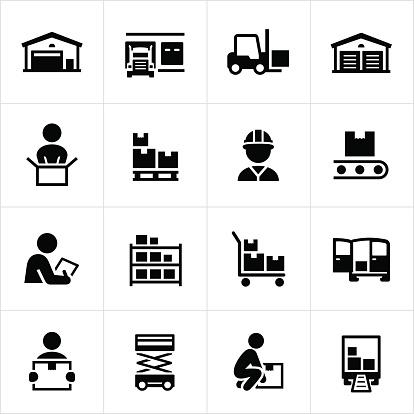 Black warehouse and distribution icons. Warehouse, storage facility, distribution, shipping, boxes, icons, symbols.