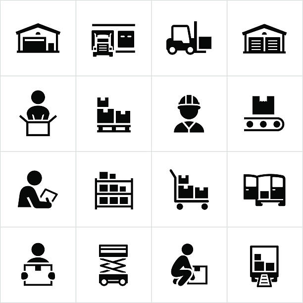 Distribution Warehouse Icons vector art illustration