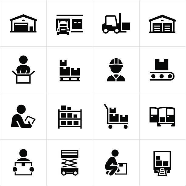 stockillustraties, clipart, cartoons en iconen met distribution warehouse icons - pallet