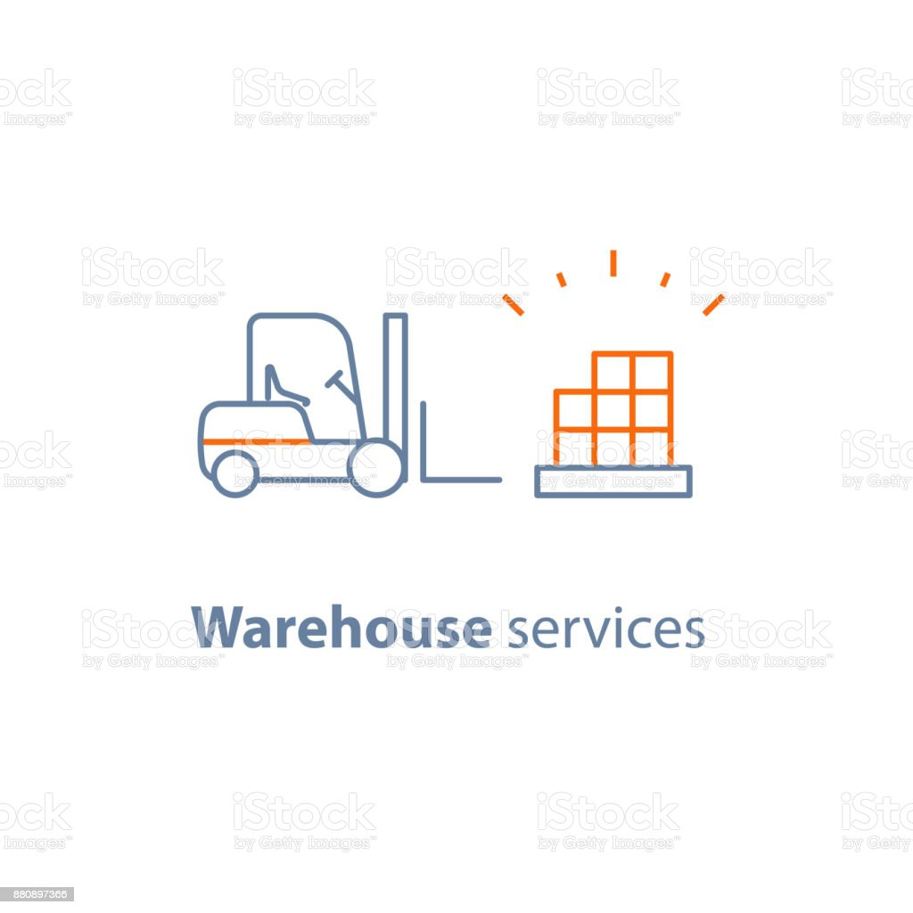 Distribution warehouse, supply storage service, logistics company, fork loader, pallet with stacked boxes, freight load vector art illustration