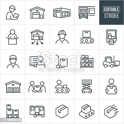 A set of distribution warehouse icons that include editable strokes or outlines using the EPS vector file. The icons include a warehouse, warehouse supervisor, loading dock, semi-truck, person packaging, warehouse worker, conveyor belt, package, truck with boxes, blue collar worker, person at computer, hand dolly, inventory, forklift, package delivery, assembly line and other related icons.