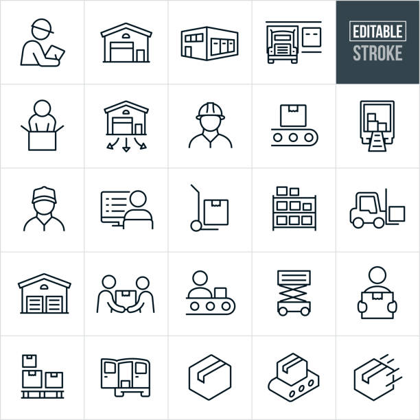 Distribution Warehouse Thin Line Icons - Editable Stroke A set of distribution warehouse icons that include editable strokes or outlines using the EPS vector file. The icons include a warehouse, warehouse supervisor, loading dock, semi-truck, person packaging, warehouse worker, conveyor belt, package, truck with boxes, blue collar worker, person at computer, hand dolly, inventory, forklift, package delivery, assembly line and other related icons. for sale stock illustrations
