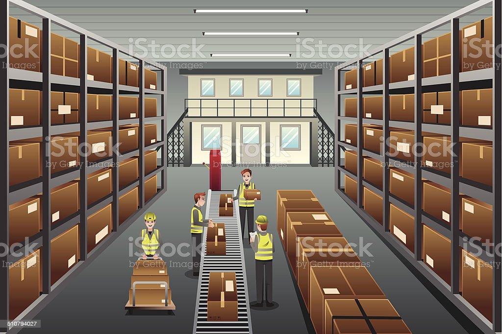 Distribution warehouse vector art illustration