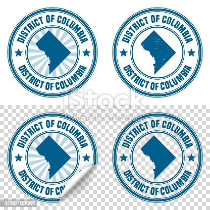 istock District of Columbia - Blue sticker and stamp - Map and name 1050703066