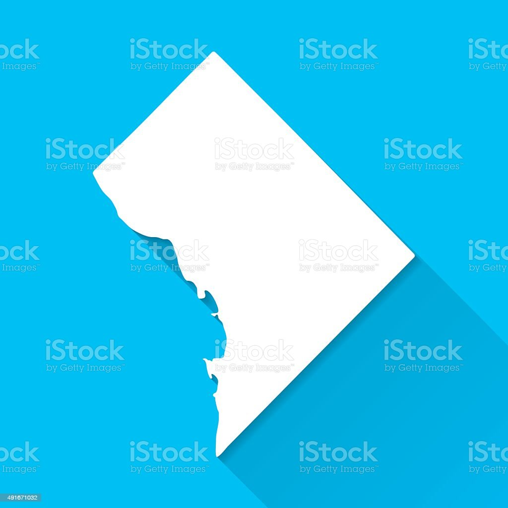District of Columbia Map, Blue Background, Long Shadow, Flat Design vector art illustration