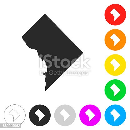 Map of District of Columbia isolated on white background. Includes 9 buttons with a flat design style for your design, in different colors (red, orange, yellow, green, blue, purple, gray, black, white, line art), each icon is separated on its own layer. Vector Illustration (EPS10, well layered and grouped). Easy to edit, manipulate, resize or colorize. Please do not hesitate to contact me if you have any questions, or need to customise the illustration. http://www.istockphoto.com/portfolio/bgblue