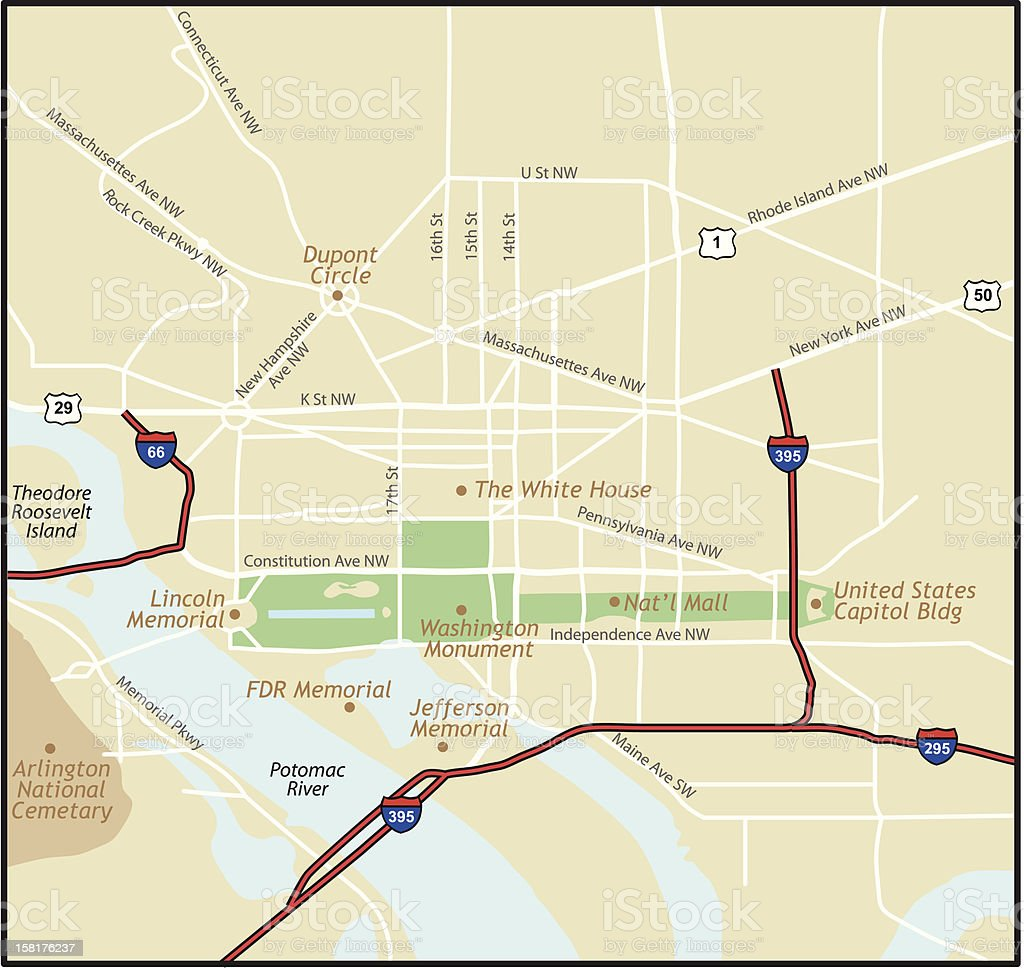 District of Columbia (Washington, DC ) Map vector art illustration