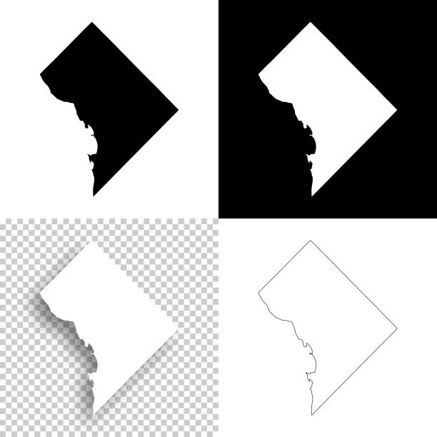 District of Columbia maps for design - Blank, white, black backgrounds Map of District of Columbia for your own design. With space for your text and your background. Four maps included in the bundle: - One black map on a white background. - One blank map on a black background. - One white map with shadow on a blank background (for easy change background or texture). - One blank map with only a thin black outline (in a line art style). The layers are named to facilitate your customization. Vector Illustration (EPS10, well layered and grouped). Easy to edit, manipulate, resize or colorize. Please do not hesitate to contact me if you have any questions, or need to customise the illustration. http://www.istockphoto.com/portfolio/bgblue washington dc stock illustrations