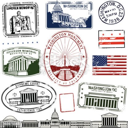 Series of stylized stamps from Washington DC monuments. Also some DC monuments in simplified fine line illustration at the bottom.
