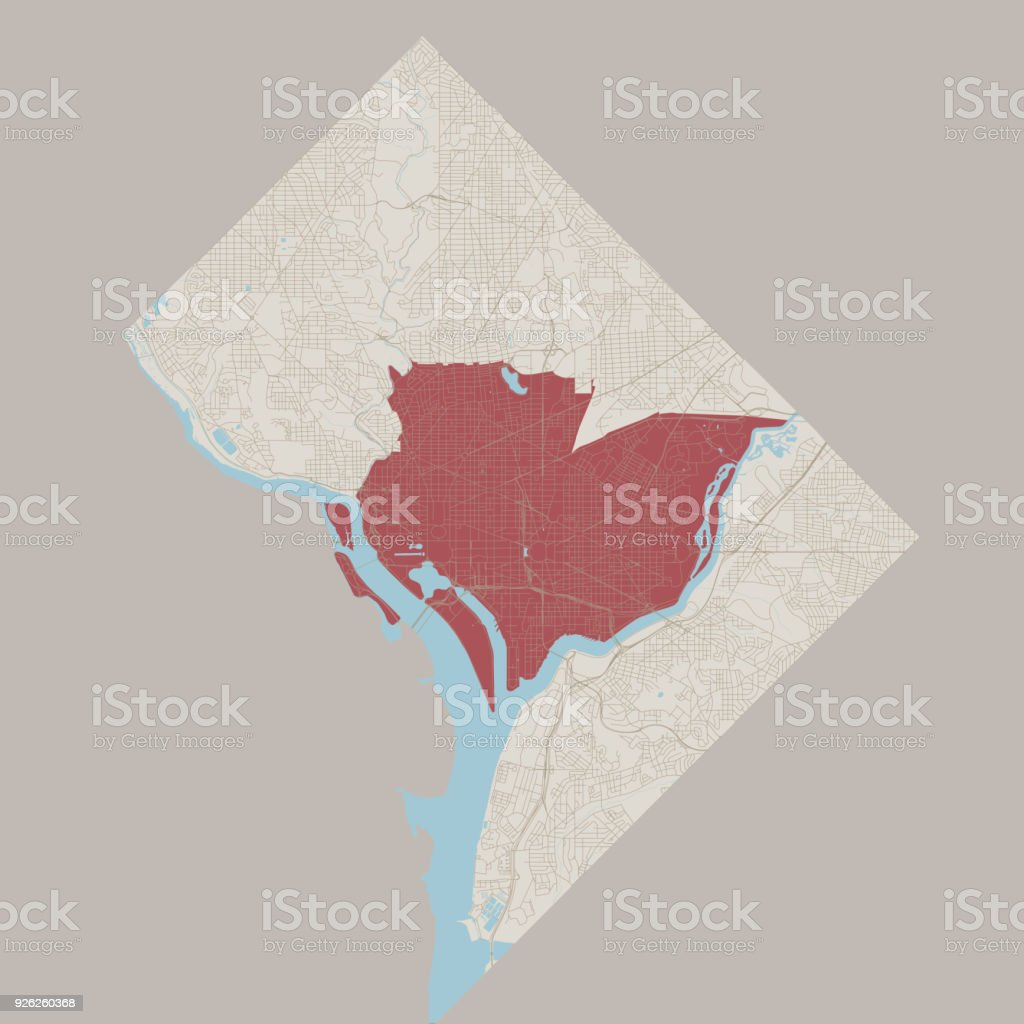 District Of Columbia US State Road Map vector art illustration