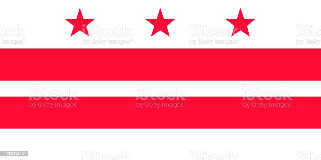 Distrito de Colúmbia vector bandeira. Ilustração em vetor. Estados Unidos da América. - ilustração de arte em vetor